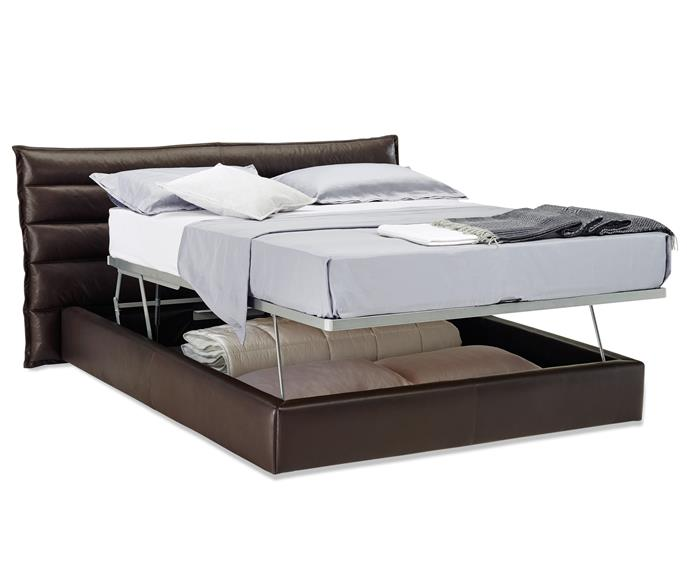 "**Onda queen bed frame**, from $5510. This Italian-designed bed features masses of storage. The down-stuffed headboard comes in leather or fabric. Natuzzi Italia; [www.natuzzi.com.au](www.natuzzi.com.au/?utm_campaign=supplier/|target=""_blank"")."