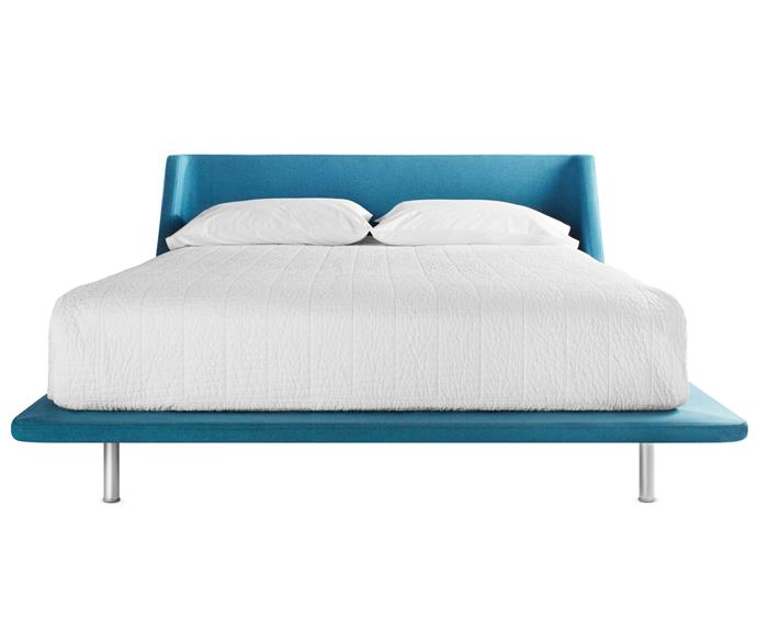 "**Nook queen bed frame in aqua**, $2499. The upholstered head of the Nook bed curves gently down into a slim, padded platform. It comes in 10 colours and several sizes. Blu Dot; (02) 9313 5400 or [www.bludot.com.au](www.bludot.com.au/?utm_campaign=supplier/|target=""_blank"")."