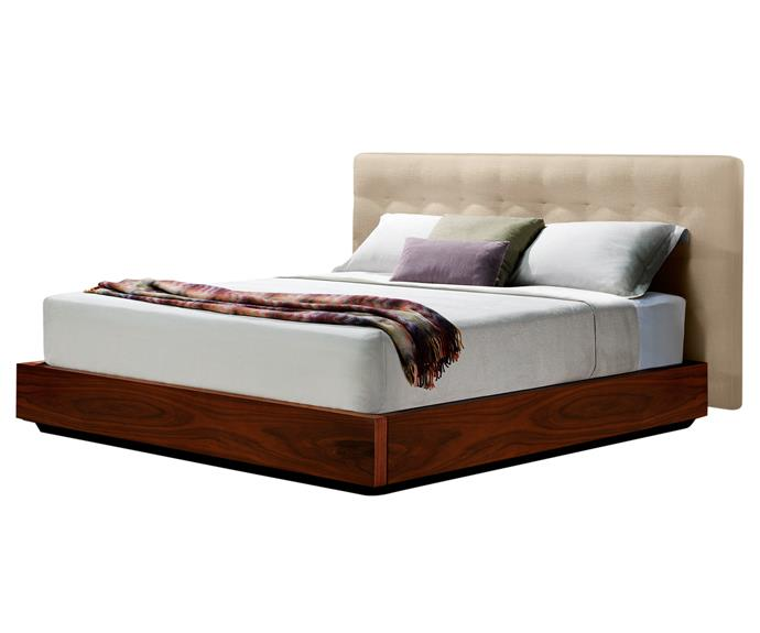 "**Serenade storage bed frame**. The timber-veneer base of this bed encloses a spacious storage compartment. The upholstered bedhead comes in fabric or leather. King Living; 1300 546 438 or [www.kingliving.com.au](www.kingliving.com.au/?utm_campaign=supplier/|target=""_blank"")."
