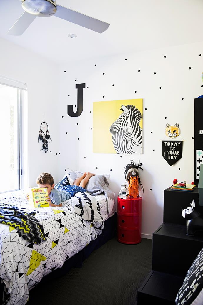 Jackson's room is on trend with black and white Scandi influences.