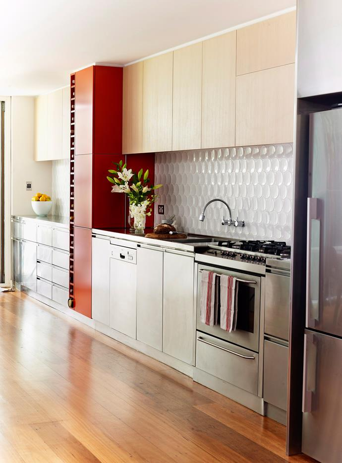 Sleek stainless steal kitchen. Photo: Julie Crespel / bauersyndication.com.au (photographer)