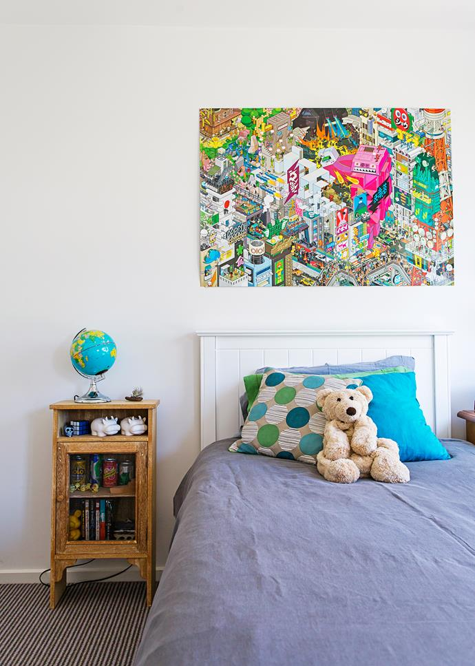 Oscar's colour pop print is a fun addition to his bedroom.