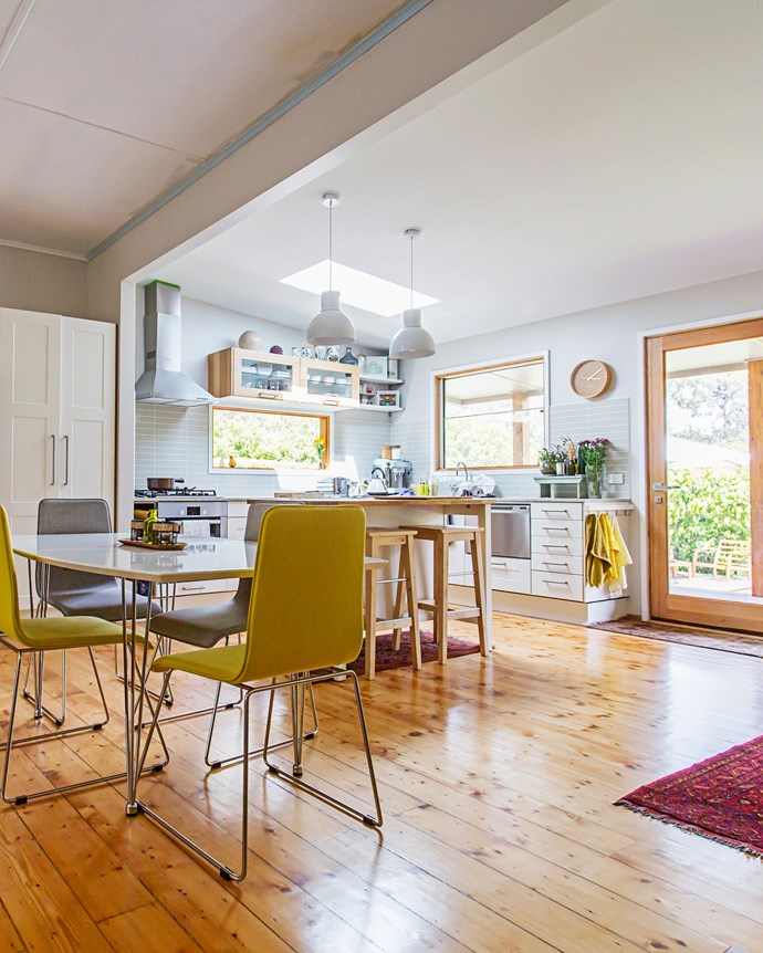 "The open-plan kitchen is light and airy. ""We're very proud of what we've achieved here in such a short space of time,"" says Judy."