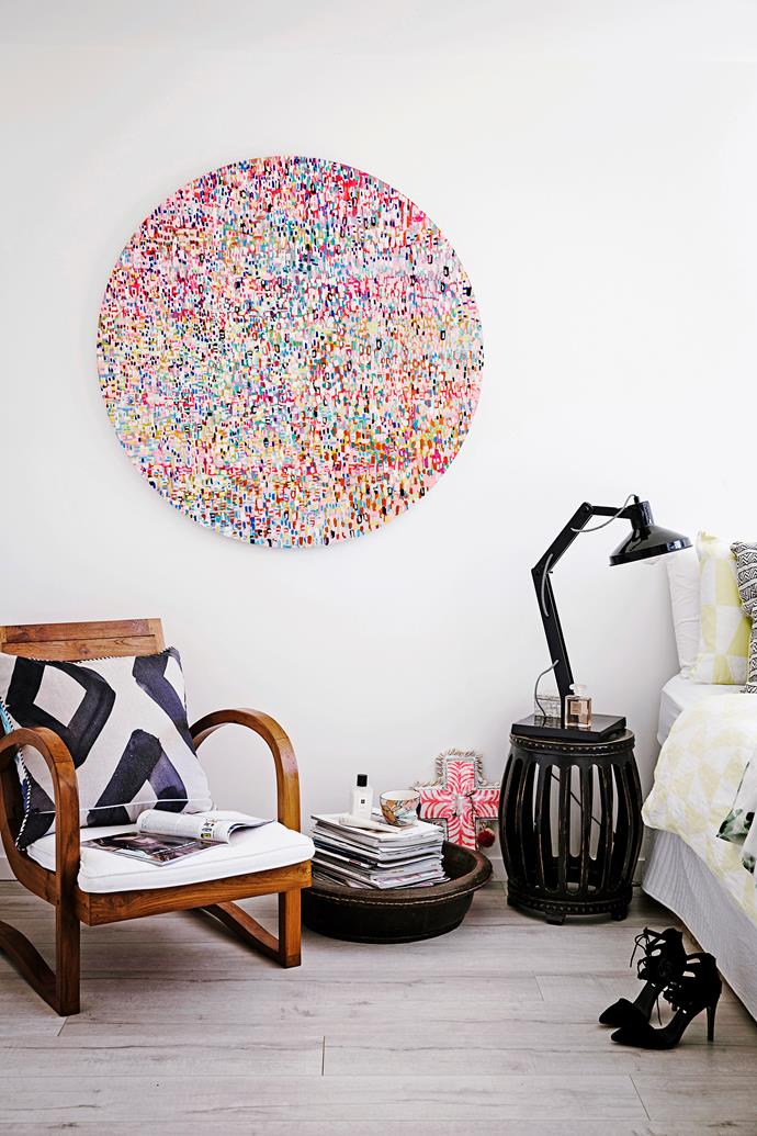 """Also in the master bedroom, above a chair from [Byron Designworks](http://www.byrondesignworks.com.au//?utm_campaign=supplier/