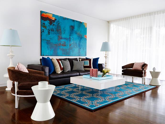 "Greg Natale's signature blend of formal symmetry and playful colour can be seen throughout the house. **Sofa**, [Dedece](http://dedece.com/?utm_campaign=supplier/|target=""_blank""). **Armchairs**, **coffee table**, **tray** and **floor lamps**, all [Jonathan Adler](http://www.jonathanadler.com/?utm_campaign=supplier/
