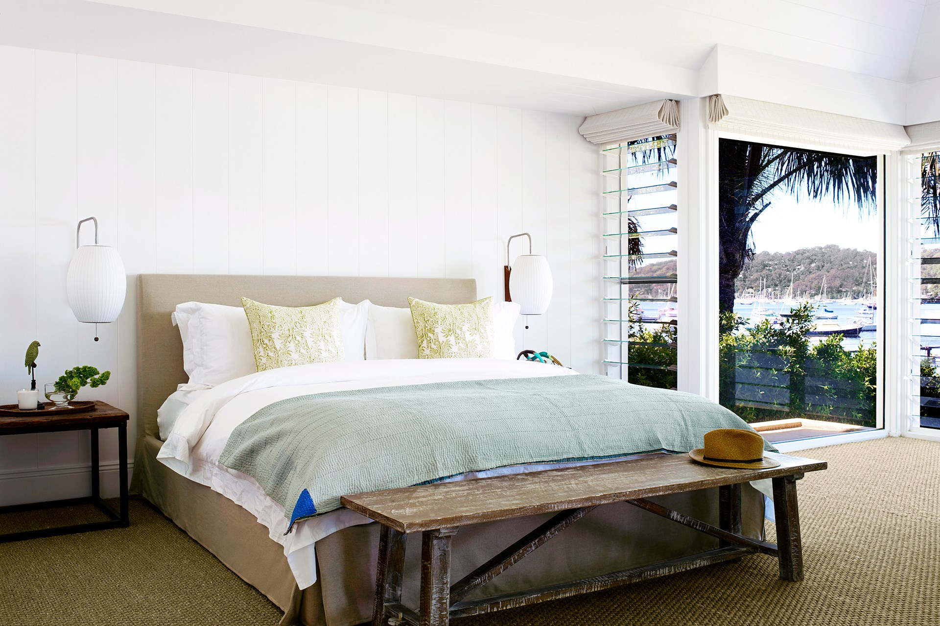 Sisal carpet and lining panels painted crisp white complement the fresh, coastal style of this [Palm Beach house](http://www.homestolove.com.au/a-luxury-coastal-home-on-sydneys-northern-beaches-1808). *Photo: Nicholas Watt*