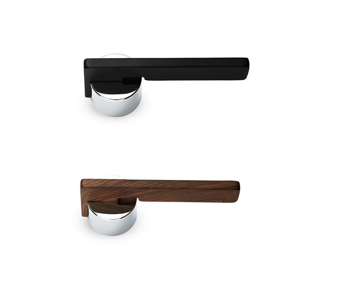 """Carlita lever **door handle** set, available in a variety of resin finishes, $175 per set, [Push Or Pull](http://www.pushorpull.com.au/?utm_campaign=supplier/