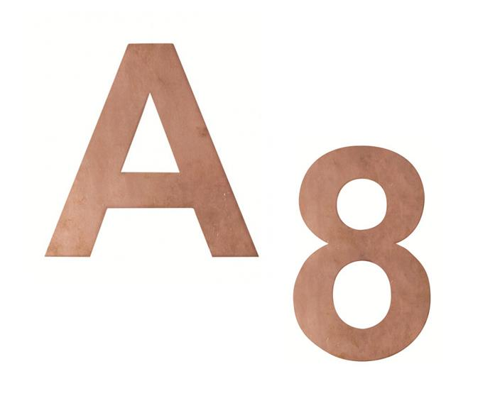 """Wall-mounted copper numbers and letters, $40 each, [Robert Plumb](http://www.robertplumb.com.au/?utm_campaign=supplier/