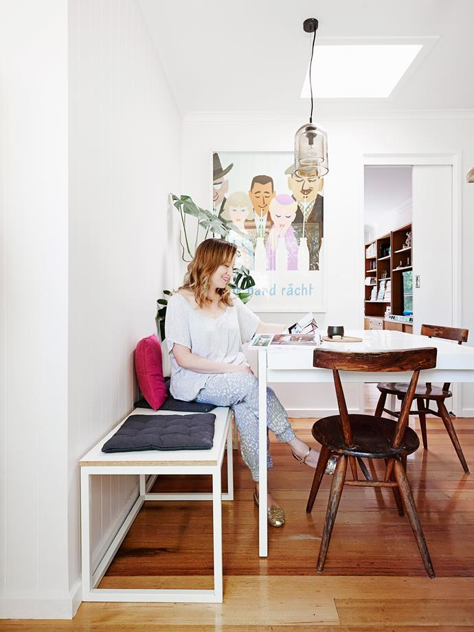 """""""The custom-designed bench maximises space and allows us to squish lots of friends in for dinner,"""" Lauren says."""