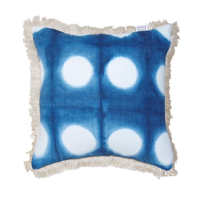 "Linen love Shibori cushion covers, $145 each, [Lumiere Art & Co](http://lumiereartandco.com.au//?utm_campaign=supplier/|target=""_blank"")."
