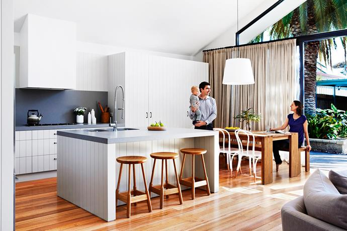 "This area's enviable indoor-outdoor connection was one of the home's biggest drawcards for Rebecca and Tonci Mardesic, pictured with son Roko. **Pendant light**, [Space](http://www.spacefurniture.com.au//?utm_campaign=supplier/|target=""_blank""). **Dining table** and **bench**, [Journey East](https://journeyeast.com//?utm_campaign=supplier/