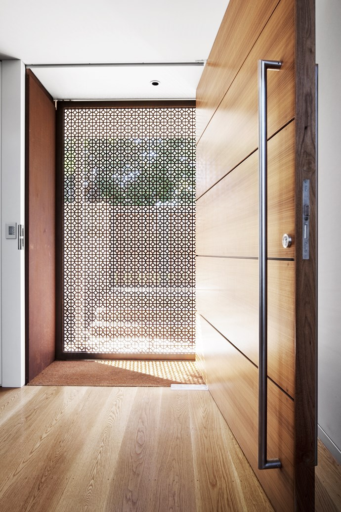 "Laser-cut Corten steel screen door by [MCK Architecture & Interiors](http://mckarchitects.com//?utm_campaign=supplier/|target=""_blank"")."