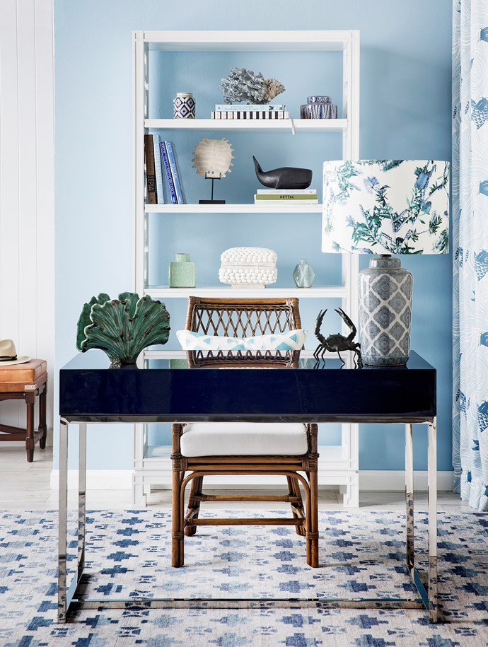 """**FOREGROUND** Worlds Away William Navy iron **desk** with MDF top, $1600, James Said.**ON DESK** from left Fan Shell ceramic **vase**, $52, [Me & Mo Homewares](http://www.meandmo-homewares.com.au//?utm_campaign=supplier/