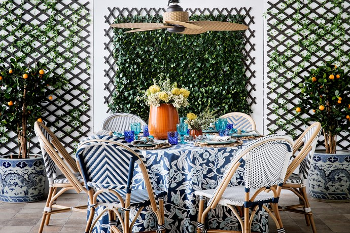 """Santa Barbara (stripe) rattan side chair with synthetic-wicker seat, $269, and Miami (spot) rattan side chair with synthetic-wicker seat, $299, [Naturally Cane](http://naturallycane.com.au//?utm_campaign=supplier/