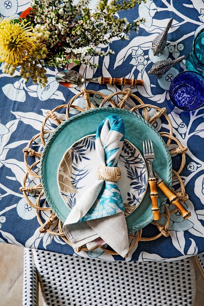 "Lotus linen napkin, $125/six, [Bonnie and Neil](http://www.bonnieandneil.com.au//?utm_campaign=supplier/|target=""_blank""). Woven cane napkin ring, $9, [My Island Home](http://www.myislandhome.com.au//?utm_campaign=supplier/|target=""_blank""). Batik Garden porcelain side plate, $245/12-piece dinner set, [Noritake](http://www.noritake.com.au//?utm_campaign=supplier/|target=""_blank""). Bamboo-handled cutlery, $265/five-piece place setting, [My Island Home](http://www.myislandhome.com.au//?utm_campaign=supplier/|target=""_blank""). Rope melamine dinner plate, $14, [Pottery Barn](http://www.potterybarn.com.au//?utm_campaign=supplier/|target=""_blank""). Waveney wicker placemat, $48, Juliska. Fish aluminium salt and pepper shakers, $44/pair, [Pottery Barn](http://www.potterybarn.com.au//?utm_campaign=supplier/|target=""_blank""). Kaos glass tumbler in Cobalt, $8, [Freedom](http://www.freedom.com.au//?utm_campaign=supplier/|target=""_blank"")."
