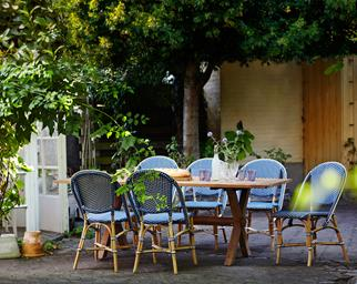 Outdoor dining chairs and table