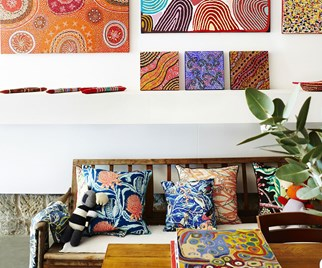 Nichola's store is filled with vibrant artworks by indigenous artists