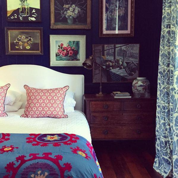 "Anna Spiro's bedroom featuring an antique textile avaiable from [@flyingpaloma](https://www.instagram.com/flyingpaloma/|target=""_blank"") over the base of the bed. Photo: [@annaspiro](https://www.instagram.com/annaspiro/