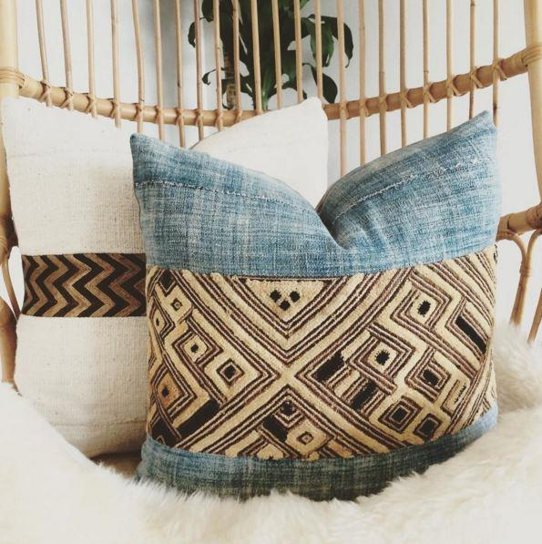 "Kuba Cloth and Mudcloth cushions. Photo: [@indiebungalow](https://www.instagram.com/indiebungalow/|target=""_blank"")."