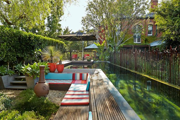 "Creating a happy, relaxed and sustainable space was foremost in the minds of Caecilia Potter and her husband James Van Smeerdijk when they designed the garden of their 1890s heritage house. Their naturally filtered pool proves to be the jewel in the crown and a focal point for family fun. [See more of their stunning property here](http://www.homestolove.com.au/gallery-caecilia-and-james-sustainable-suburban-oasis-1488|target=""_blank""). Photo: Scott Hawkins"