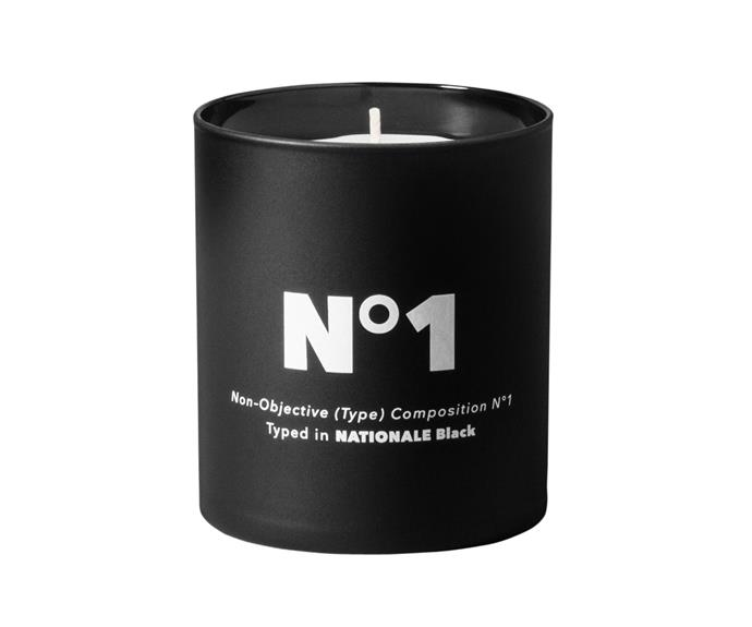 """Playtype candle, $59, [The Minimalist](http://www.theminimalist.com.au/?utm_campaign=supplier/