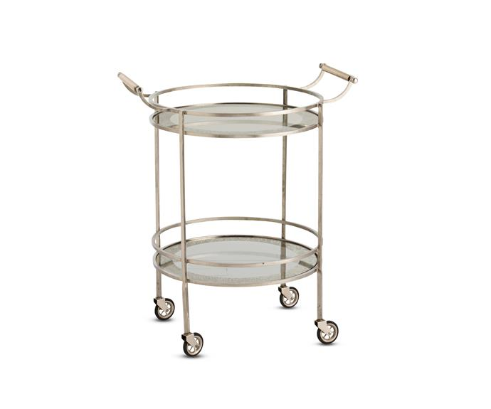 "With its round edges and ease of mobility, the 'Wade' bar cart, $1910, from Boyd Blue is the perfect cocktail companion. [Boyd Blue](http://www.boydblue.com/|target=""_blank"")."
