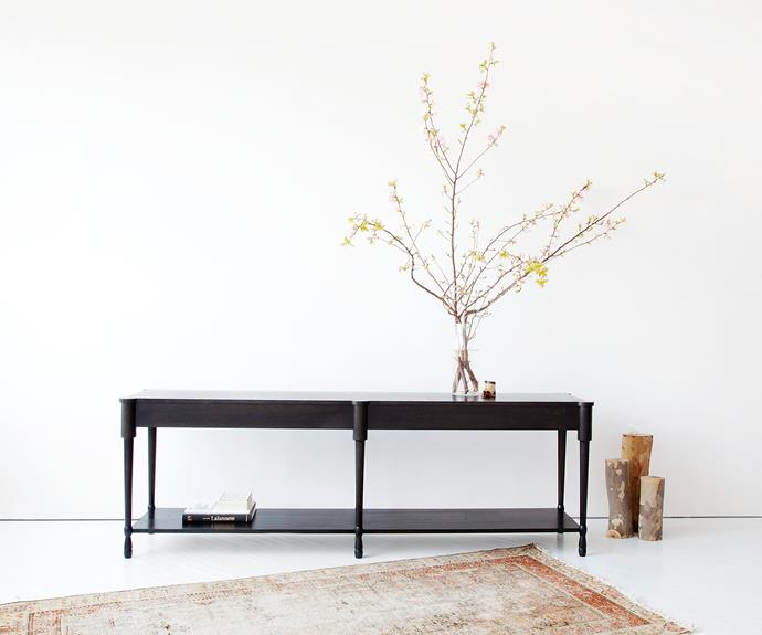 """New York-based designers Egg Collective specialise in attention to detail and unique material choices, evident in the blackened white oak 'Fern' table, [Egg Collective](http://eggcollective.com//?utm_campaign=supplier/
