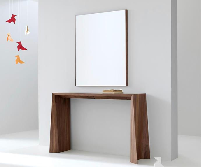 """The simplified silhouette of the Kendo 'Naruk' console contains two swing-out trays ideal for stowing important posessions for safekeeping, [Ajar](http://ajar.com.au//?utm_campaign=supplier/