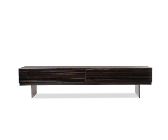 """The contrast between the weight of the ebony veneer and the sheen of the elegant lacquered finish makes the 'Lang Low' console by Minotti exceedingly desirable, [De De Ce](http://dedece.com//?utm_campaign=supplier/