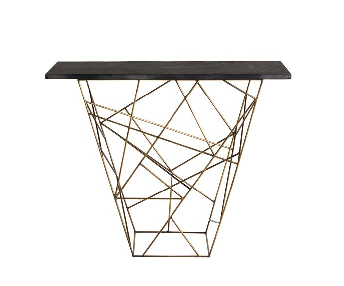 """Constructed with antique brass rods, the bold geometric pattern of the 'Liev' console from Boyd Blue turns this piece of furniture into a functional work of art, [Boyd Blue](http://www.boydblue.com//?utm_campaign=supplier/