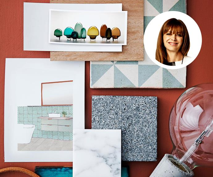 Mood board with architectural drawings