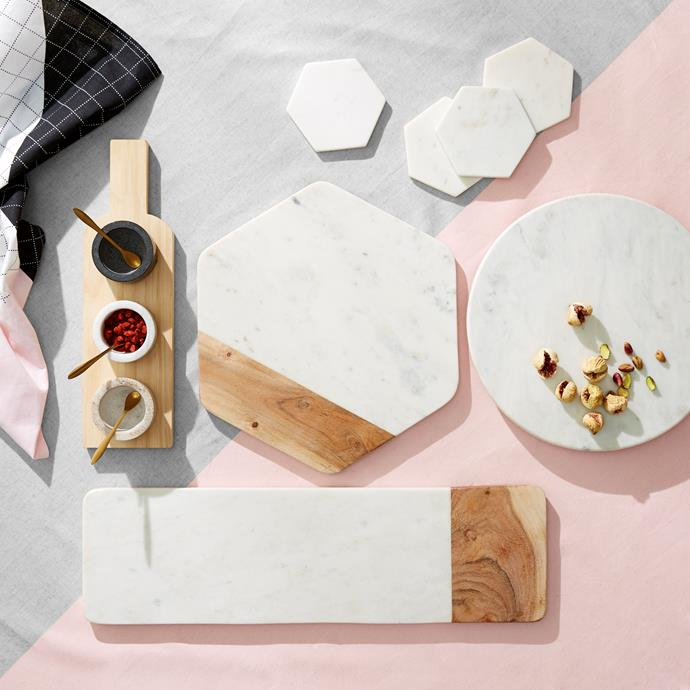 """Marble and timber cheese platters, from $6, [Kmart](http://www.kmart.com.au/