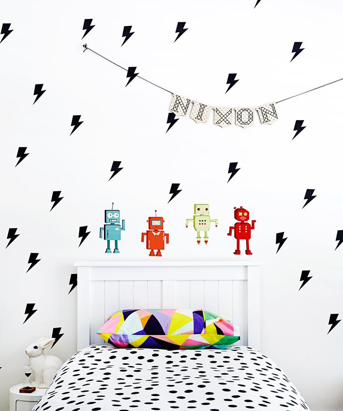 "Nixon loves his lightning bolt-stickers on his bedroom wall. They were found online, while the robot stickers came from [The Design Court](http://www.designcourt.com.au/?utm_campaign=supplier/|target=""_blank"")."