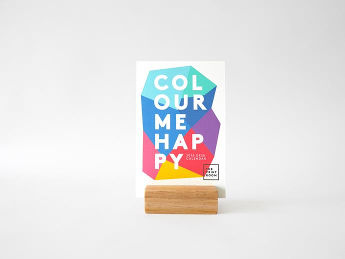"""Colour me happy 2016 desk calendar, $15, [ThePrintRoomDesign](https://www.etsy.com/au/listing/252242235/colour-me-happy-2016-desk-calendar?ref=shop_home_active_16 /?utm_campaign=supplier/ target=""""_blank"""")."""