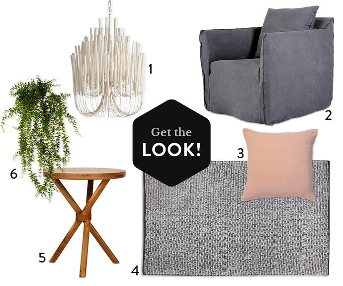 "**1.** Arteriors Tilda timber chandelier, $2395, [Boyd Blue](http://www.boydblue.com/?utm_campaign=supplier/|target=""_blank""). **2.** Bronte linen armchair in stone, $1495, [Urban Couture](https://www.urbancouture.com.au/?utm_campaign=supplier/