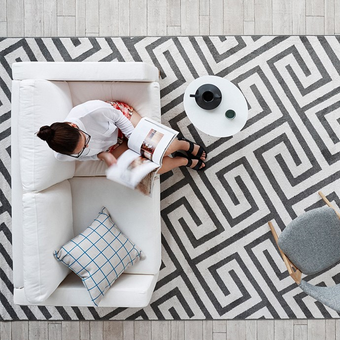 """Take the time to get your proportions right before you buy, [browse our handy size guide here](http://www.homestolove.com.au/how-to-pick-the-right-rug-size-for-your-space-1485