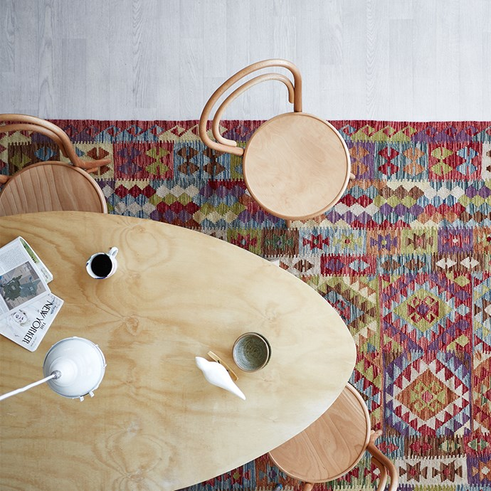 Flatweave cotton rugs, often called dhurries or kilims, are lightweight, durable and perfect for high traffic areas. Photo: Denise Braki | Styling: Jessica Bellef