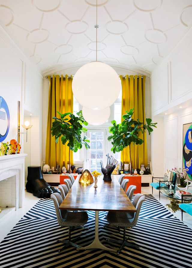 "Two [Fiddle-leaf figs](http://www.homestolove.com.au/tips-for-caring-for-fiddle-leaf-fig-trees-4923) (*Ficus lyrata*) take pride of place in the dining room of American designer and entrepreneur, [Jonathan Adler](http://www.homestolove.com.au/jonathan-adlers-greenwich-village-apartment-3009|target=""_blank""). Photo: Luis García / *Belle*"