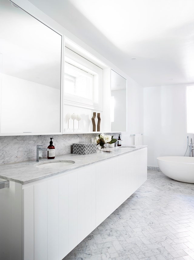 "For more inspiration on decorating with white check out our edit of [white kitchens and bathrooms](http://www.homestolove.com.au/all-white-sophisticated-kitchens-and-bathrooms-3019|target=""_blank""). Photo: Anson Smart"