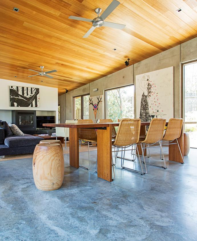 Concrete panel walls provide great insulation in the dining room.