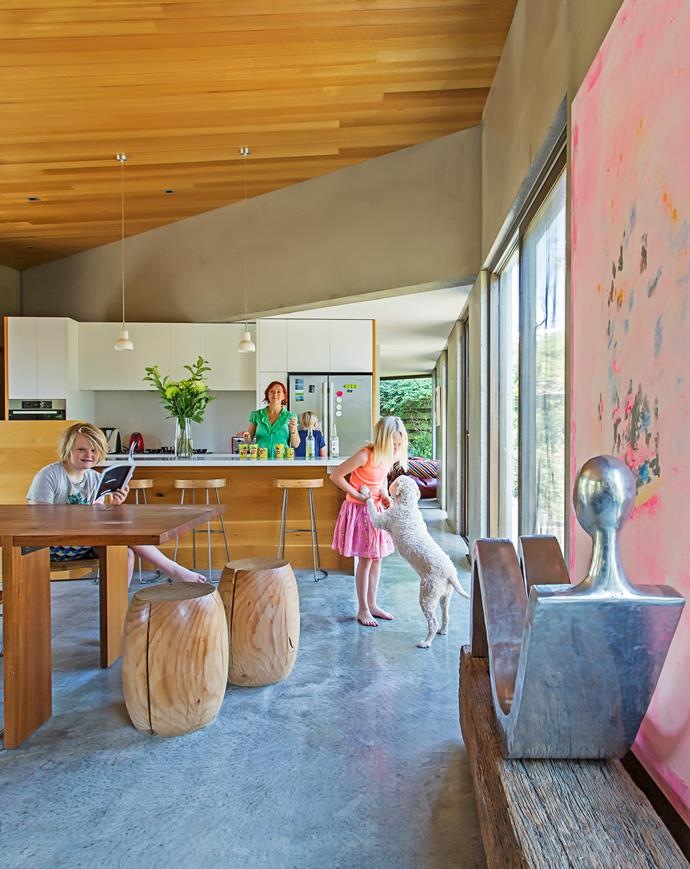 The concrete floors in the kitchen and living room make sweeping away beach sand a breeze.