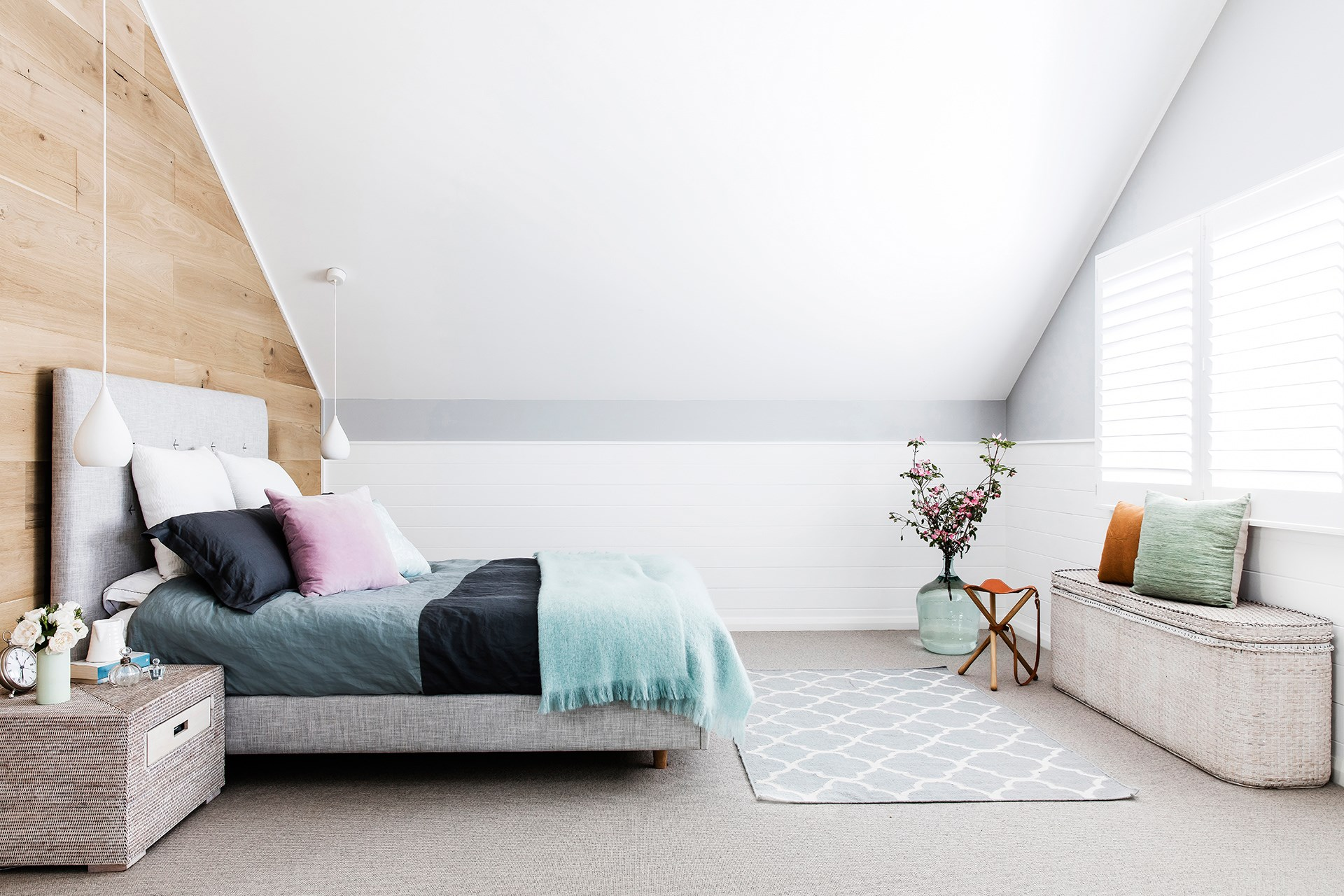 Having a plain colour base in your bedroom means your personality can shine through with your styling. Photo: Alana Landsberry / bauersyndication.com.au