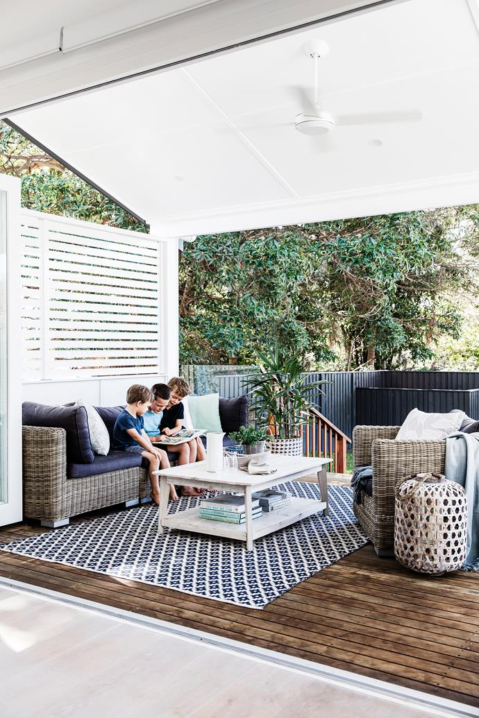 "It's turned out to be the perfect family home,"" says Anna. ""Having multiple living spaces is fantastic – it gives us separation but we can still supervise the boys."" Sofa and armchair, [Outdoor Furniture Online](http://www.outdoorfurnitureonline.com.au/?utm_campaign=supplier/