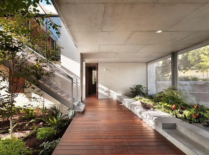 """This Apartment House in Melbourne's Toorak was designed by Kerstin for clients who embraced the notion of elevated, one-level living. """"I designed a house in a U-shape with a central courtyard where the planting on the ground floor level, by landscape designer Fiona Brockhoff, is drawn up to provide greenery in the main living space,"""" says Kerstin. There is also a self-contained flat for guests or, perhaps in the fullness of time, a carer."""