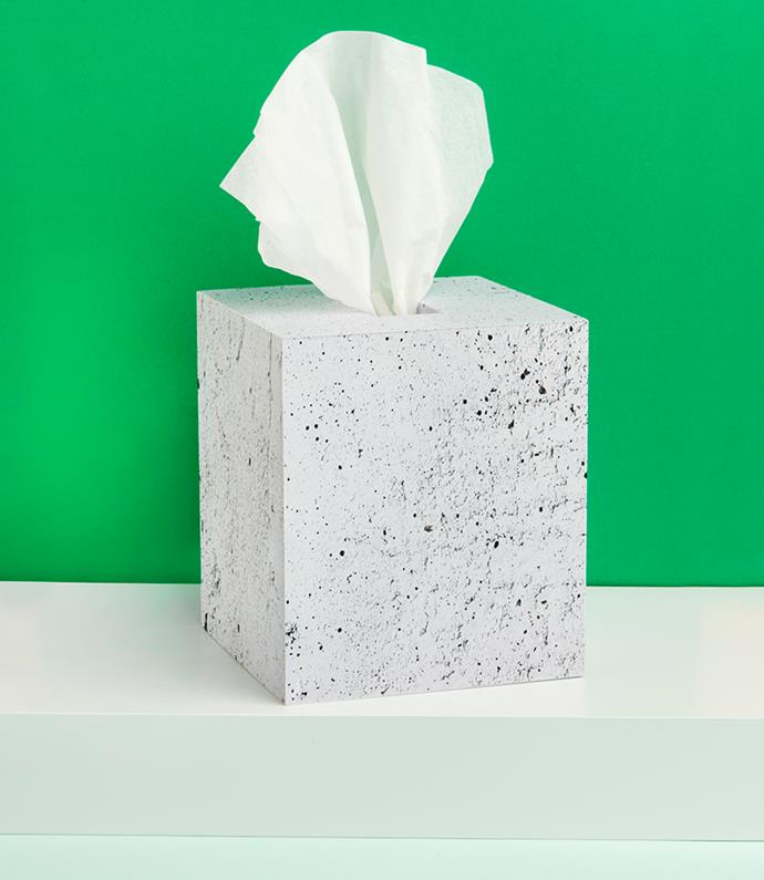 "**Trendy tissue box:** The tragic tissue box gets a edgy-urban makeover with faux concrete wallpaper. Get the DIY [here](http://www.happymundane.com/2015/09/tissues-and-faux-concrete/?utm_campaign=supplier/|target=""_blank""