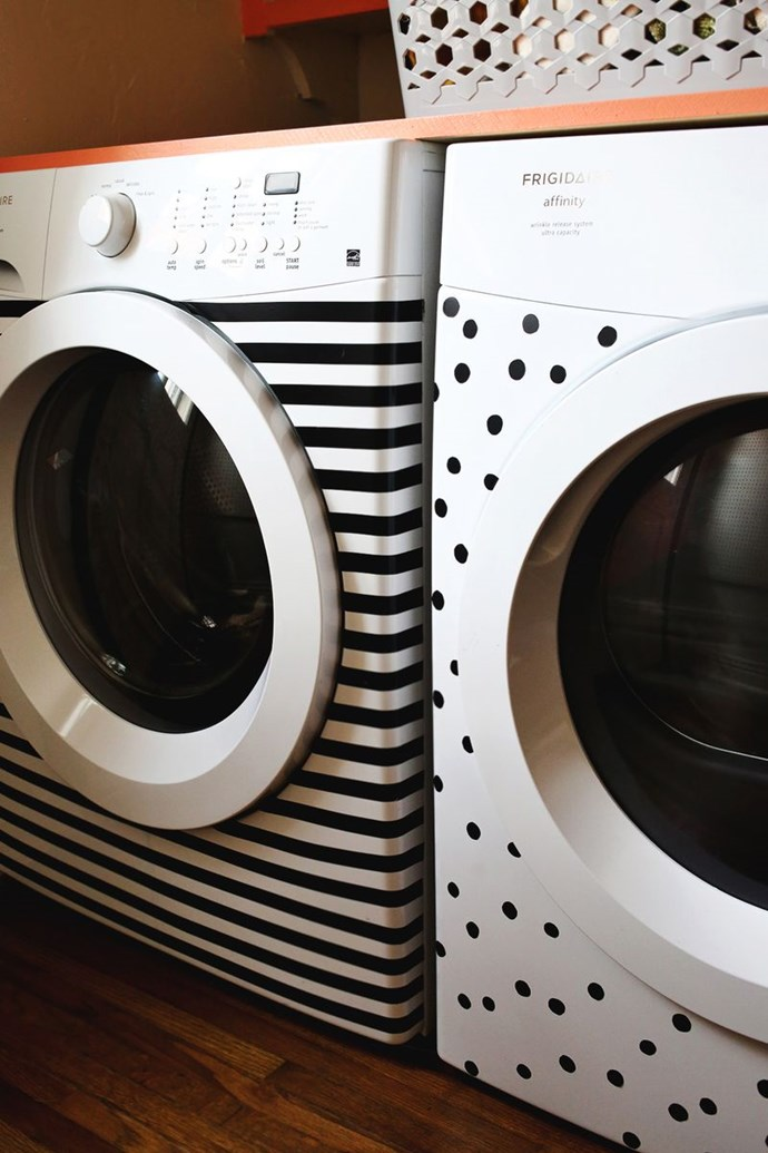 "**Update old appliances:** Bring some instant cheer to the boring laundry by covering the washing machine and dryer with graphic shapes. Get the DIY [here](http://www.abeautifulmess.com/2013/11/stripes-and-dots-elsies-washer-dryer-makeover.html|target=""_blank""