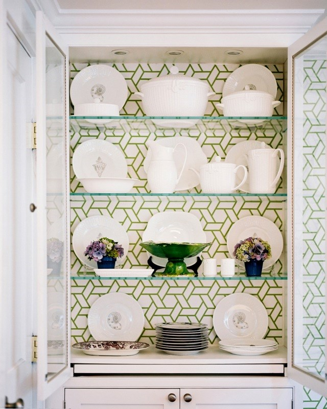 "**Beautiful backdrop:** The interior of shelves is an ideal place for printed wallpaper, providing a punchy backdrop for the items on display. Photo via [Chinoiserie Chic](http://www.chinoiseriechic.net/?utm_campaign=supplier/|target=""_blank""