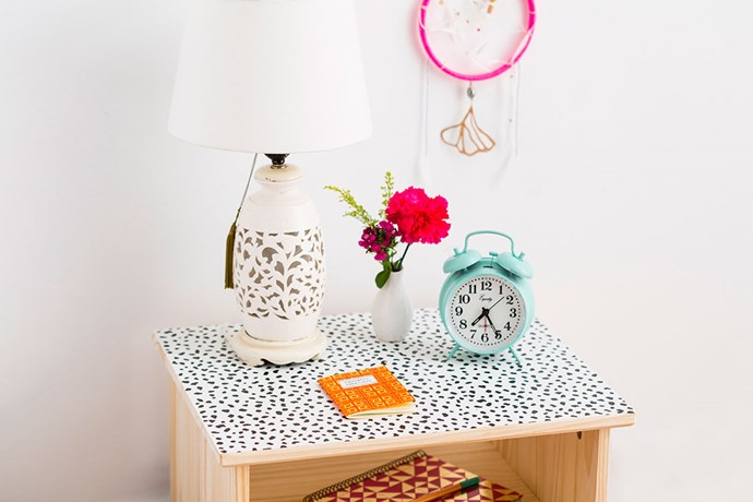 "**Statement tabletop:** A basic IKEA bedside table is transformed into something unique and wonderful with a single sheet of removable wallpaper. Get the DIY [here](http://www.brit.co/ways-to-reuse-wallpaper-tutorial/?utm_campaign=supplier/|target=""_blank""