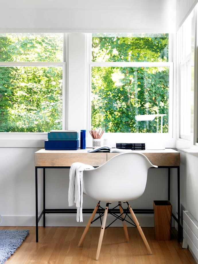 "A verdant outlook from the study, furnished with a [West Elm](http://www.westelm.com.au//?utm_campaign=supplier/|target=""_blank"") rustic storage desk and Eames moulded plastic 'Eiffel' armchair. Flos 'Tab' table lamp. [Hay](http://hay.dk//?utm_campaign=supplier/