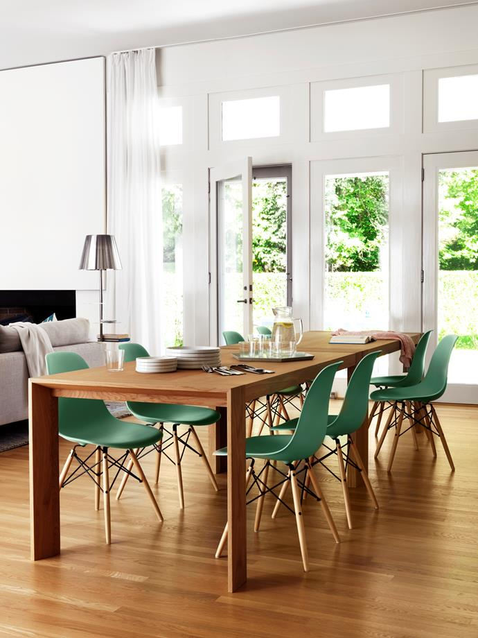 "Eames 'Eiffel' chairs surround an Arco dining table with Duramas tabletop by [Hive Modern](http://hivemodern.com//?utm_campaign=supplier/|target=""_blank""). [Hay](http://hay.dk//?utm_campaign=supplier/